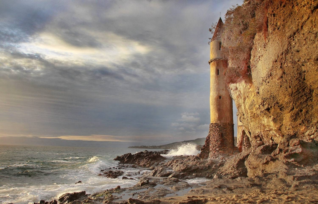 Pirate Tower is a castle that sits on the cove of Victoria Beach in Orange County