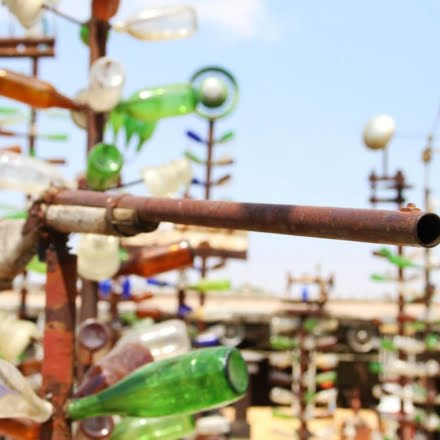 Elmer's Bottletree Ranch is two acres of high-standing sculptures created from glass bottles and other oddities scattered around.