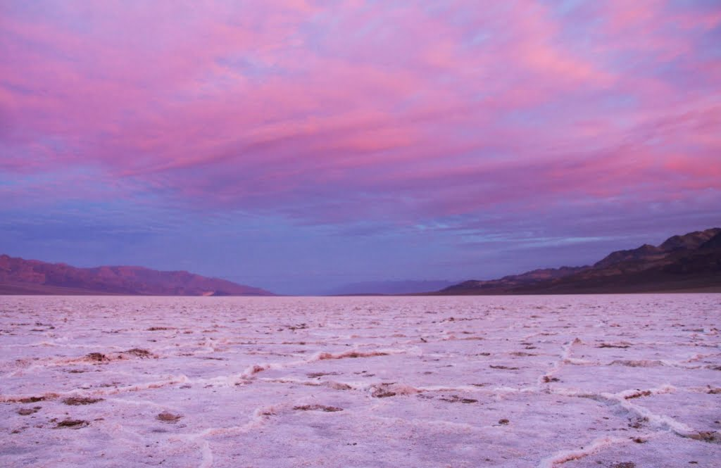 Badwater Basin is an endorheic basin in Death Valley National Park, Inyo County, noted as the lowest point in North America 282 ft below sea level.